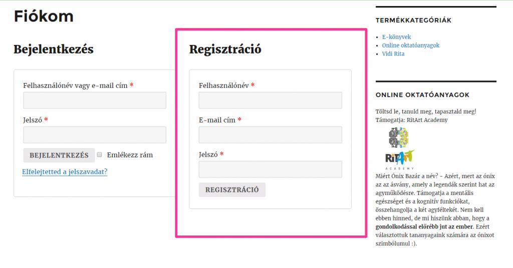 Egyszerű, egy lépéses regisztráció
